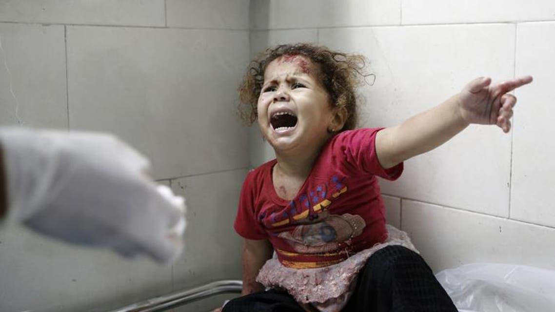 طفلة فلسطينية مصابة في مستشفى في غزة