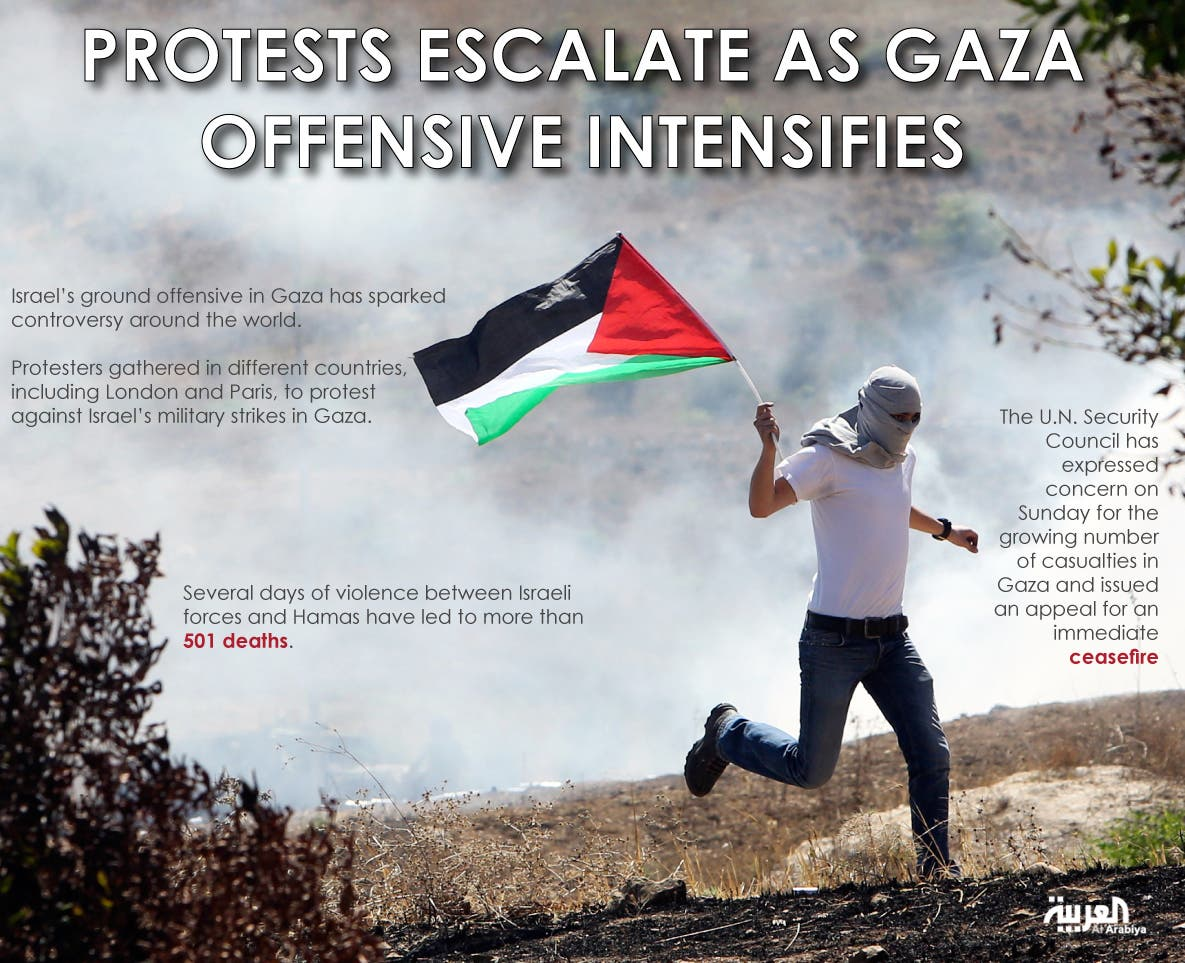 Infographic: Protests escalate as Gaza offensive intensifies