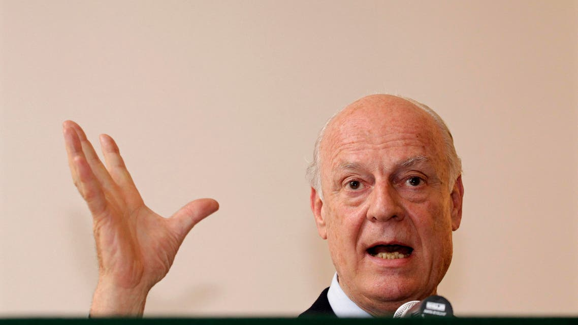 Italy's Deputy Foreign Minister Staffan de Mistura speaks during a news conference at the Italian embassy in New Delhi in this March 22, 2013