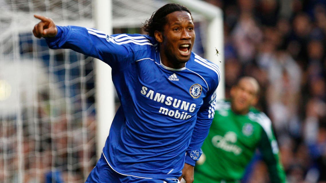 Chelsea's Didier Drogba celebrates his goal during their English Premier League soccer match against Everton at Stamford Bridge in London November 11, 2007.