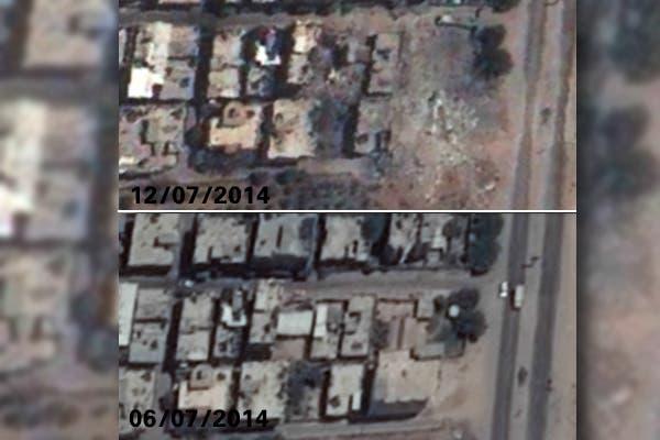 صورة من الاقمار الاصطناعية توضح تغير معالم مخيم النصيرات للاجئين الفلسطينيين قبل وبعد القصف الاسرائيلي في غزة