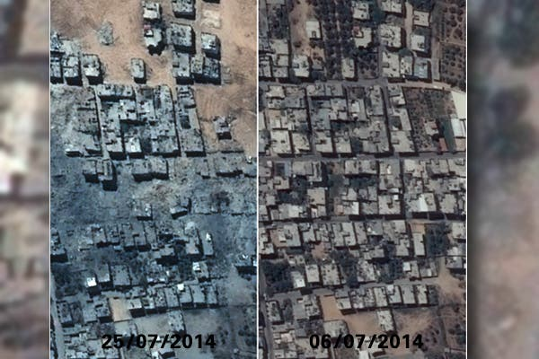 صورة من الاقمار الاصطناعية توضح تغير معالم حي الشجاعية قبل وبعد القصف الاسرائيلي في غزة