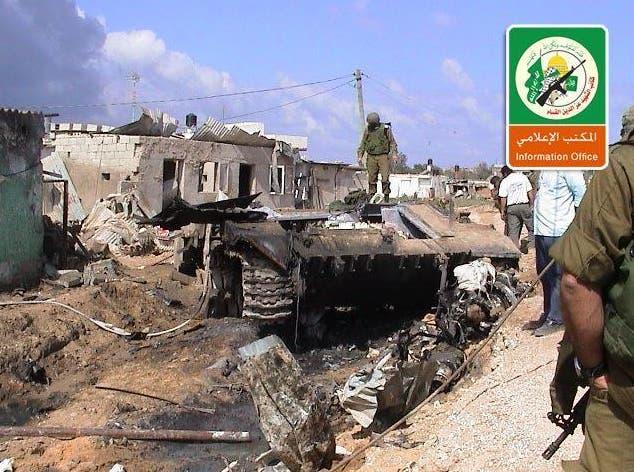 دبابة اسرائيلية مدمرة في معارك غزة