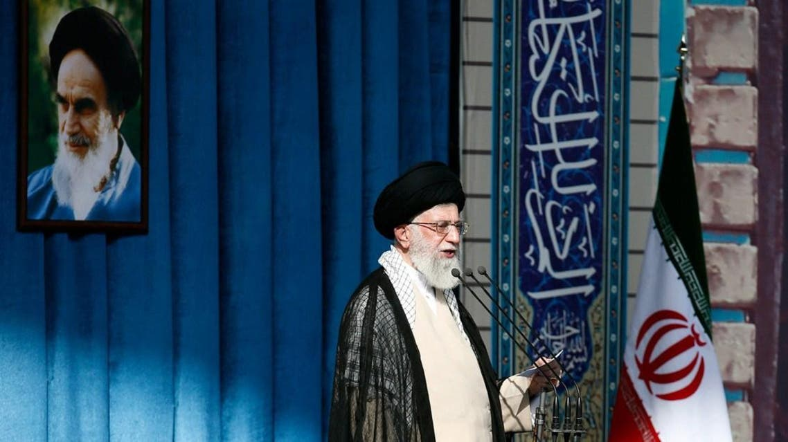 Ayatollah Ali Khamenei delivering a speech for the Eid al-Fitr prayers sermon at Tehran's Grand Mosalla on July 29, 2014. (Reuters)