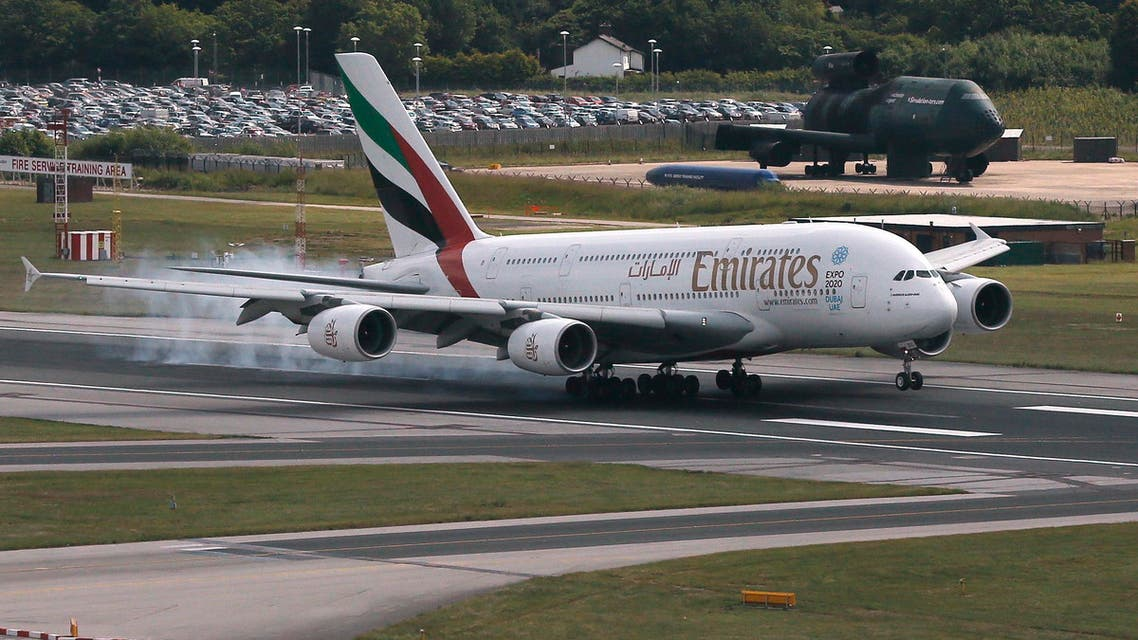 An Emirates Airbus A380 lands on the runway at Manchester Airport at Manchester Airport, northern England June 25, 2013. (Reuters)