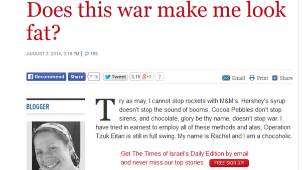 Israeli blogger asks: does the Gaza conflict make me look fat?