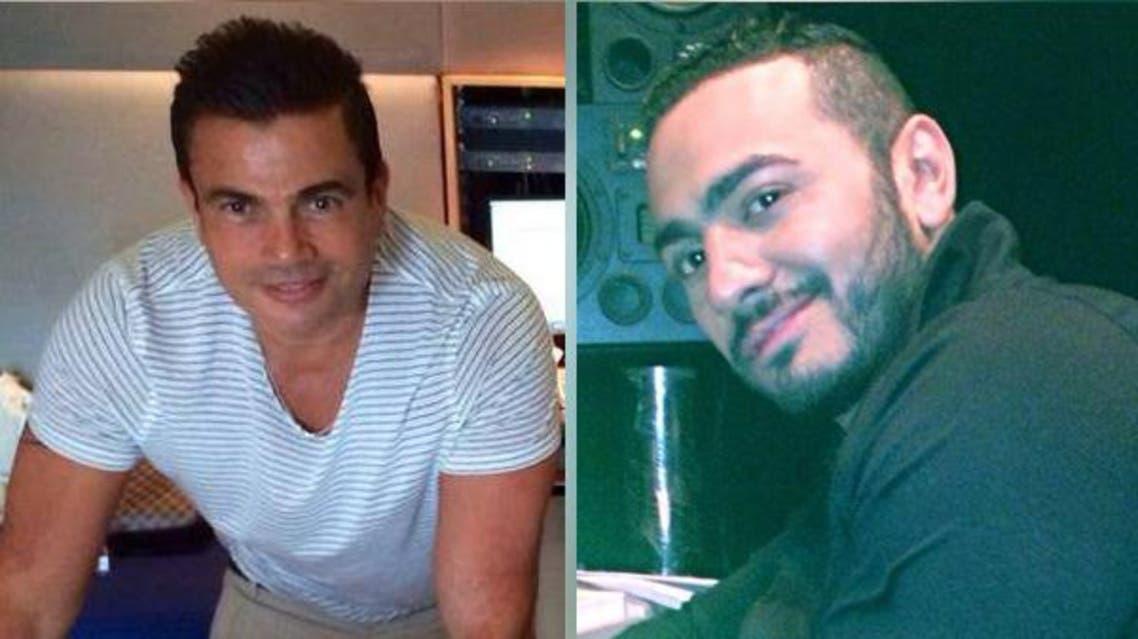 عمرو دياب وتامر حسني في الاستوديو