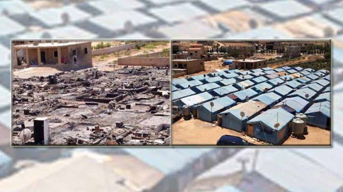 مخيمات اللاجئين في عرسال بعد القصف وقبل القصف