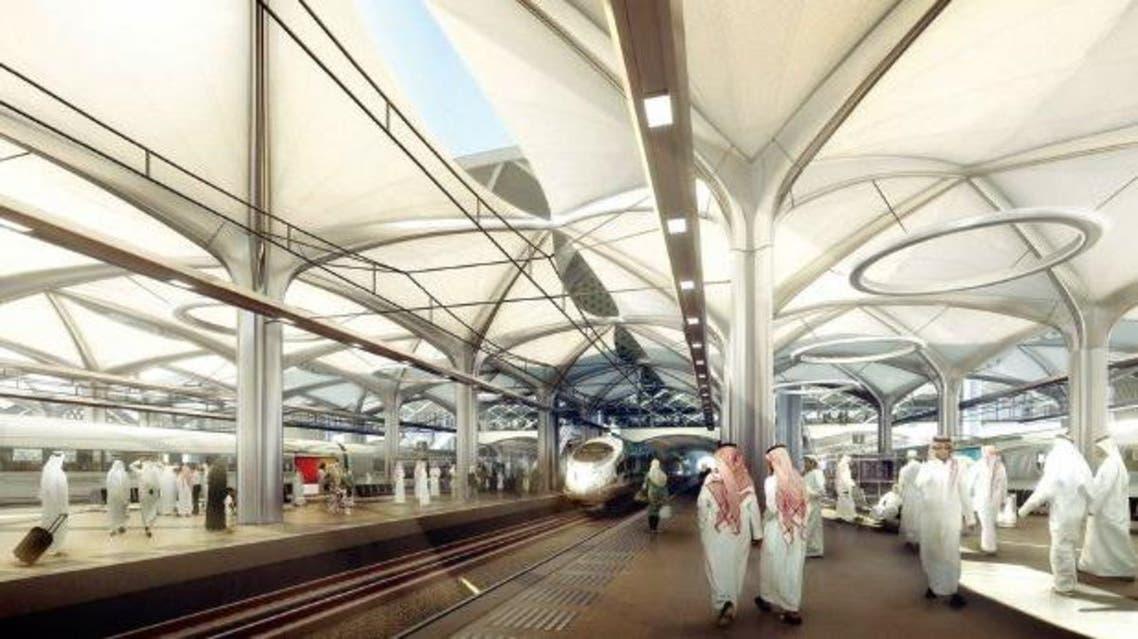 تصميم لإحدى محطات قطار الحرمين