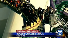 Watch firefighters rescue passengers stranded on roller coaster