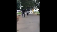 Watch woman chasing after man after he 'sexually harassed' her
