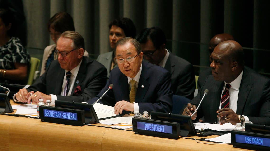 United Nations Secretary-General Ban Ki-moon (C) addresses an informal meeting of the 193-member U.N. General Assembly on the conflict in Gaza at U.N. headquarters in New York, August 6, 2014. Reuters