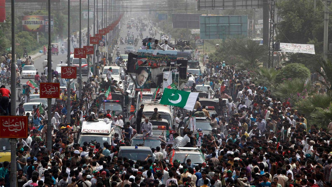 Supporters of cricketer-turned-opposition politician Imran Khan take part in the Freedom March in Gujranwala August 15, 2014. reuters