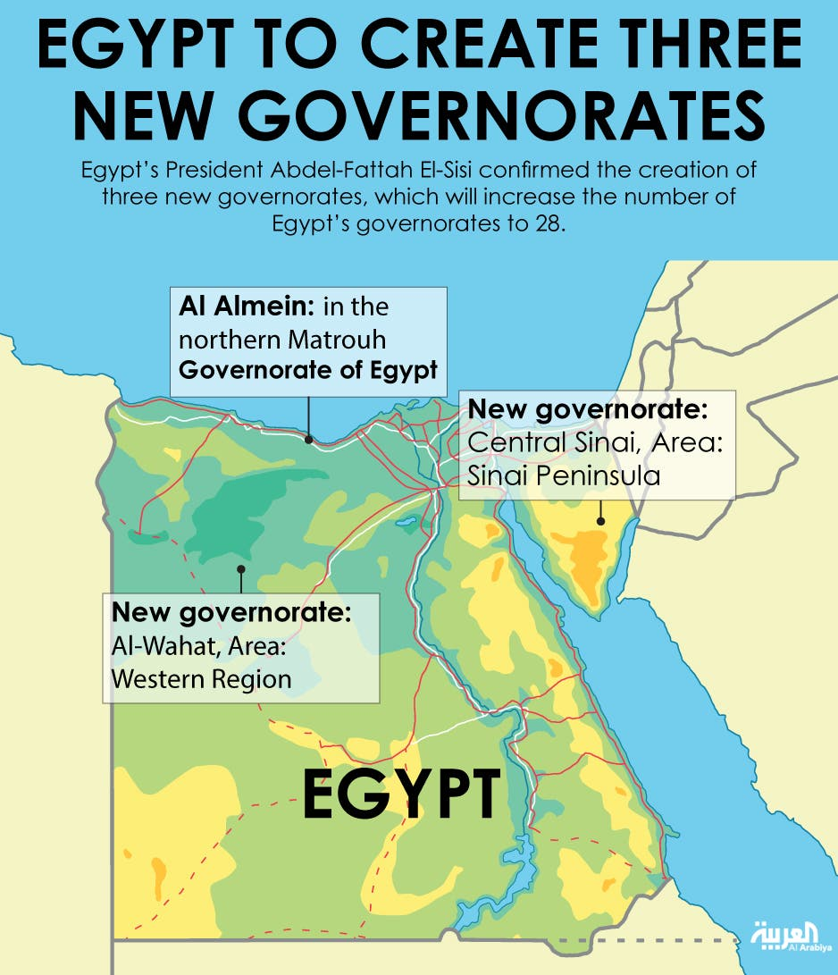 Infographic: Egypt to create three new governorates