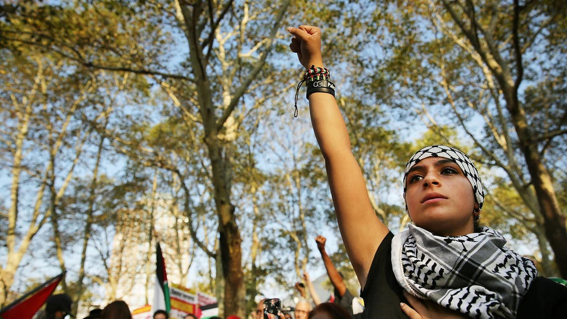New York demonstrators show support to Palestinians