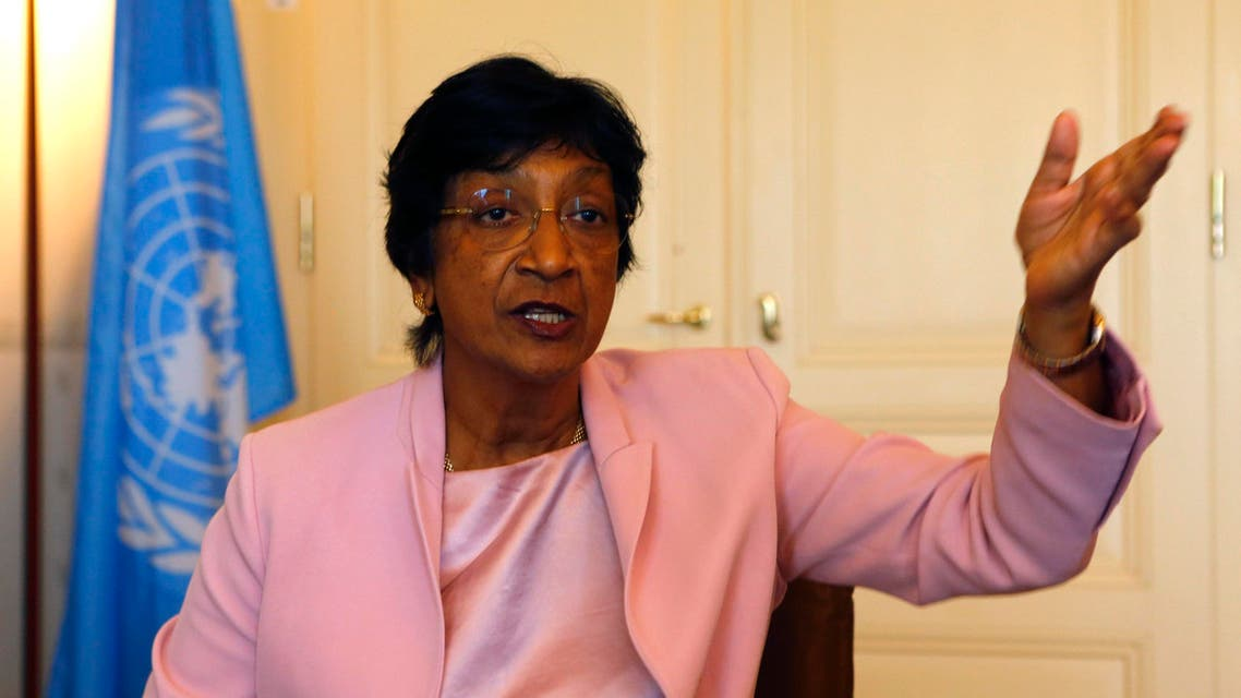 Outgoing U.N. Human Rights Commissioner Navi Pillay talks during an interview to Reuters in her office in Geneva August 19, 2014. (Reuters)