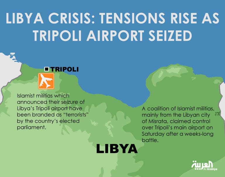 Infographic: Libya crisis: Tensions rise as Tripoli airport seized