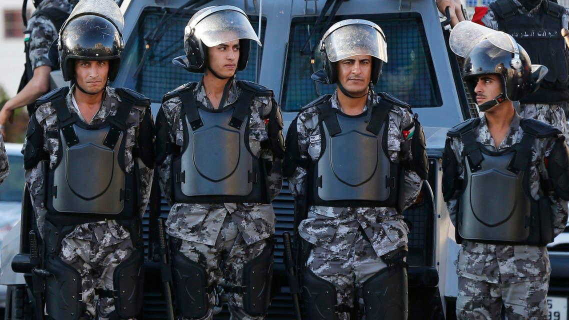 Jordanian riot police outside Israeli Embassy Jordan Reuters