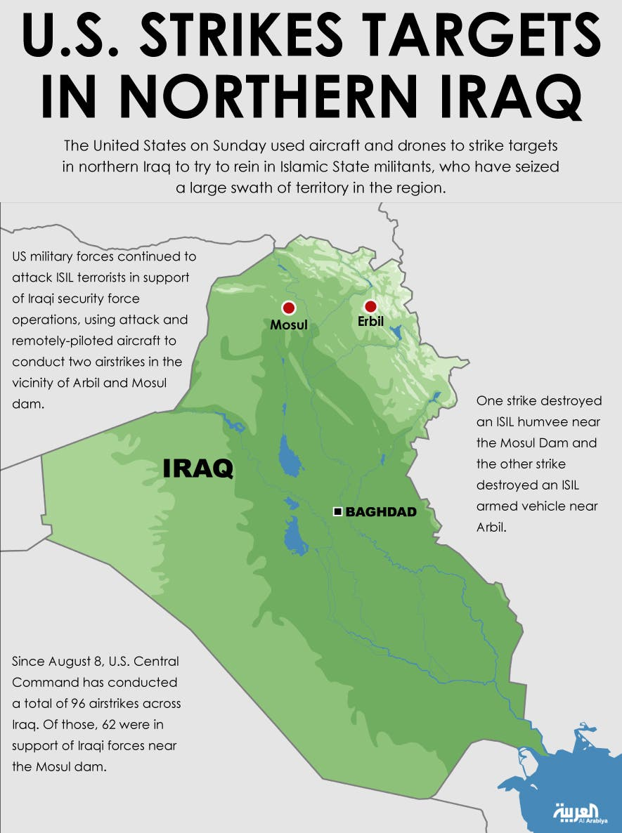 Infographic: U.S. strikes targets in northern Iraq