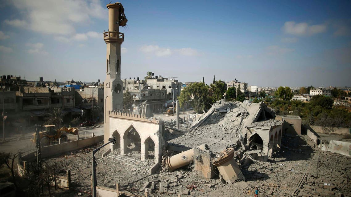 A general view of the remains of a mosque, which witnesses said was hit by an Israeli air strike, is seen in Beit Hanoun in the northern Gaza Strip August 25, 2014. (Reuters)