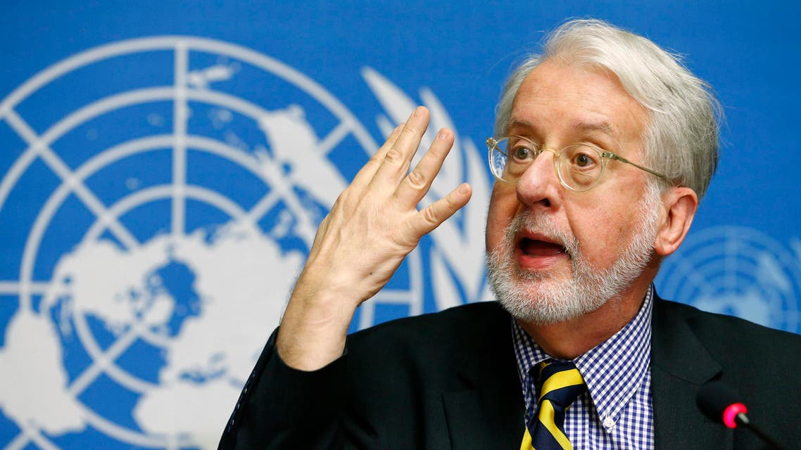 Chief investigator Paulo Pinheiro, a member of the Independent International Commission of Inquiry on the Syrian Arab Republic, attends a news conference at the United Nations headquarters in Geneva August 27, 2014. (Reuters)