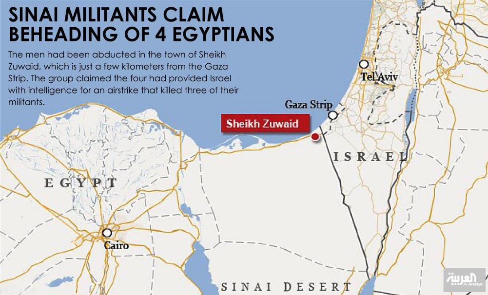 Sinai militants claim beheading of 4 Egyptians