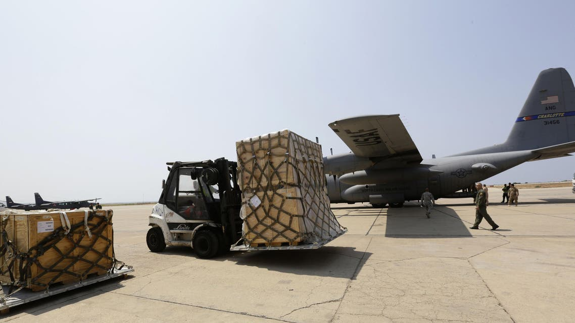 US army M16 riffles are displayed after a shipment of weapons was delivered by a US air force plane on August 29, 2014 at a Lebanese military base at Beirut International Airport. (AFP)