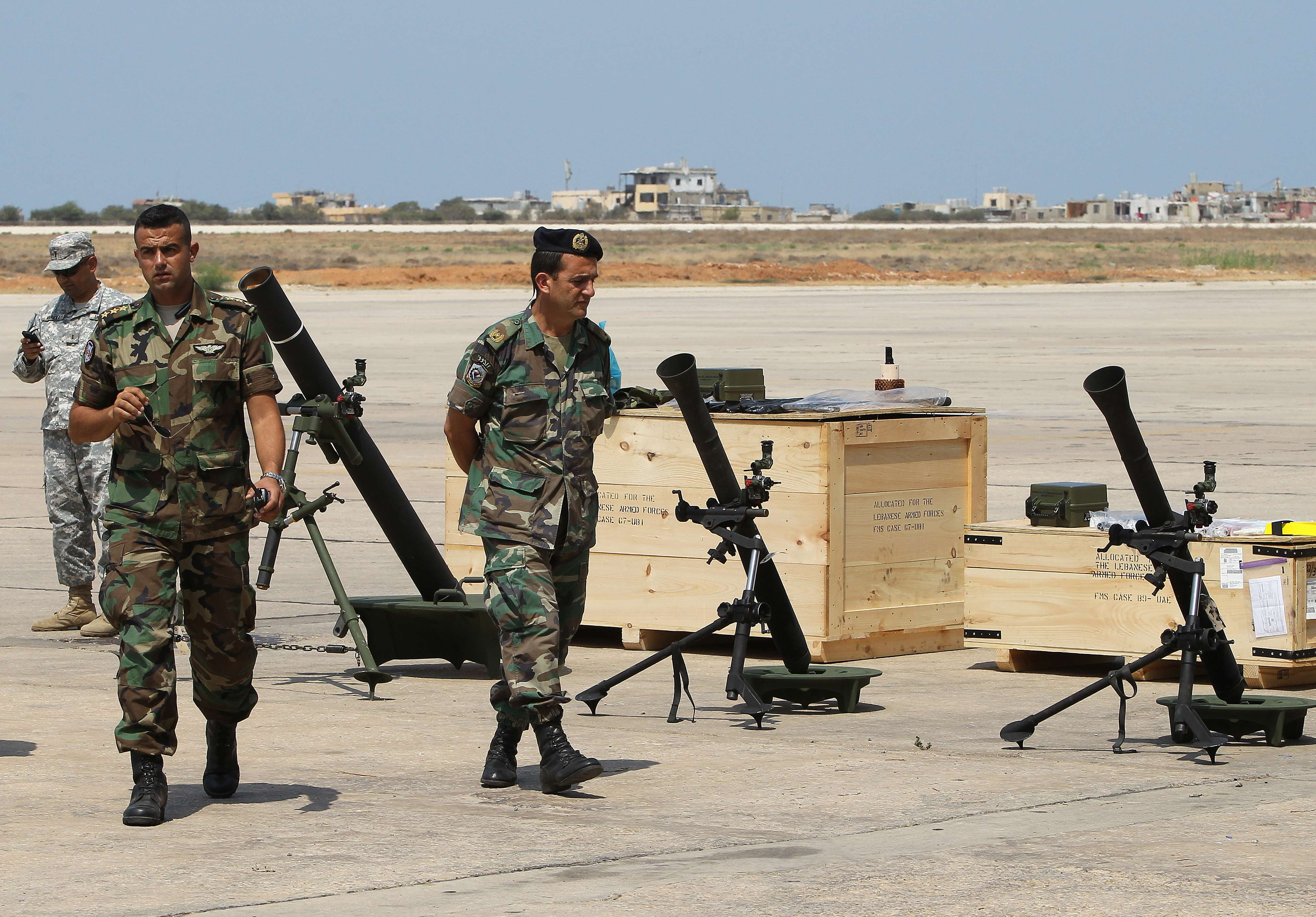 A forklift moves a shipment of weapons that was delivered by a US air force plane on August 29, 2014 at a Lebanese military base at Beirut International Airport. (AFP)