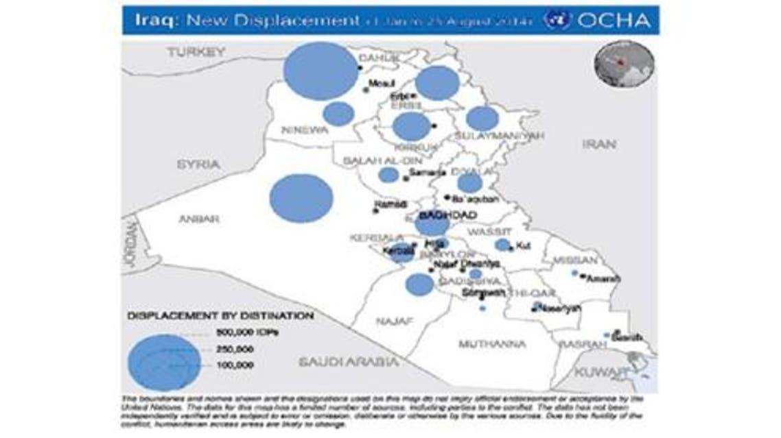 مناطق توزيع النازحين في كردستان