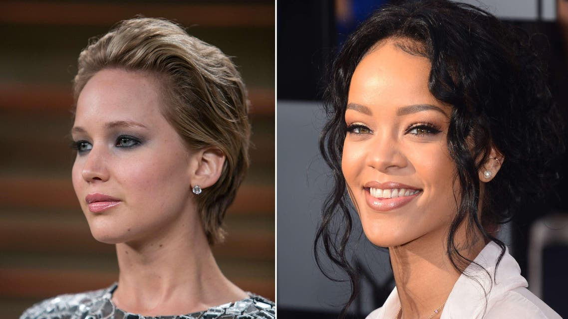 Nude photos purportedly showing many top stars, including Oscar-winner Jennifer Lawrence and pop star Rihanna were circulated on social media Sunday, in an apparent massive hacking leak. (AFP)