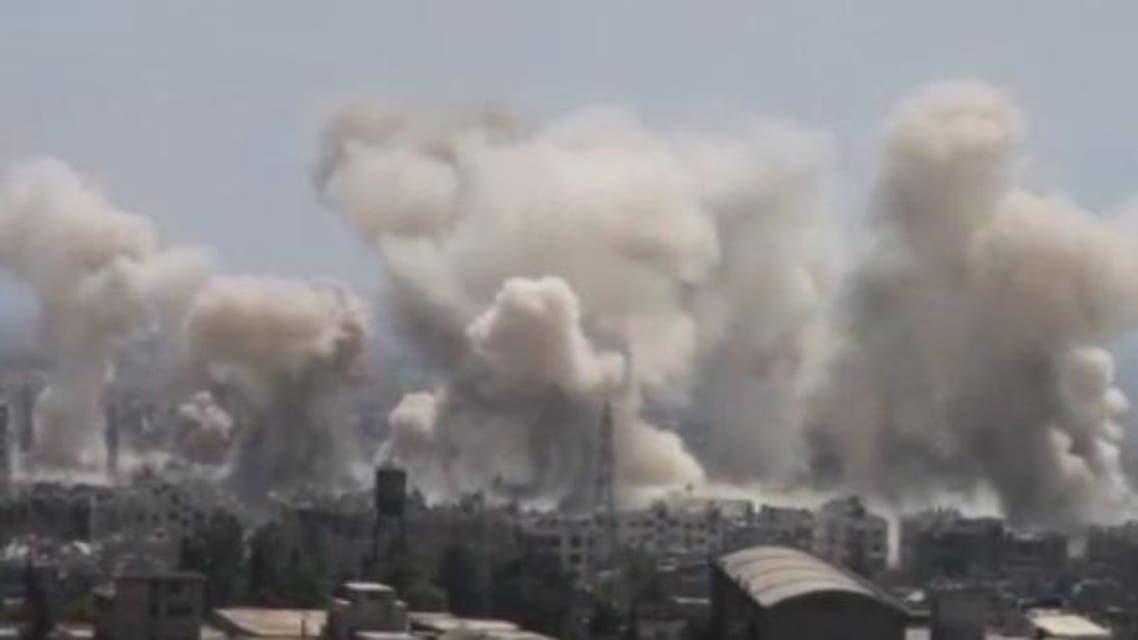 قصف جوي جوبر دمشق تفجير دمار دقة ضعيفة