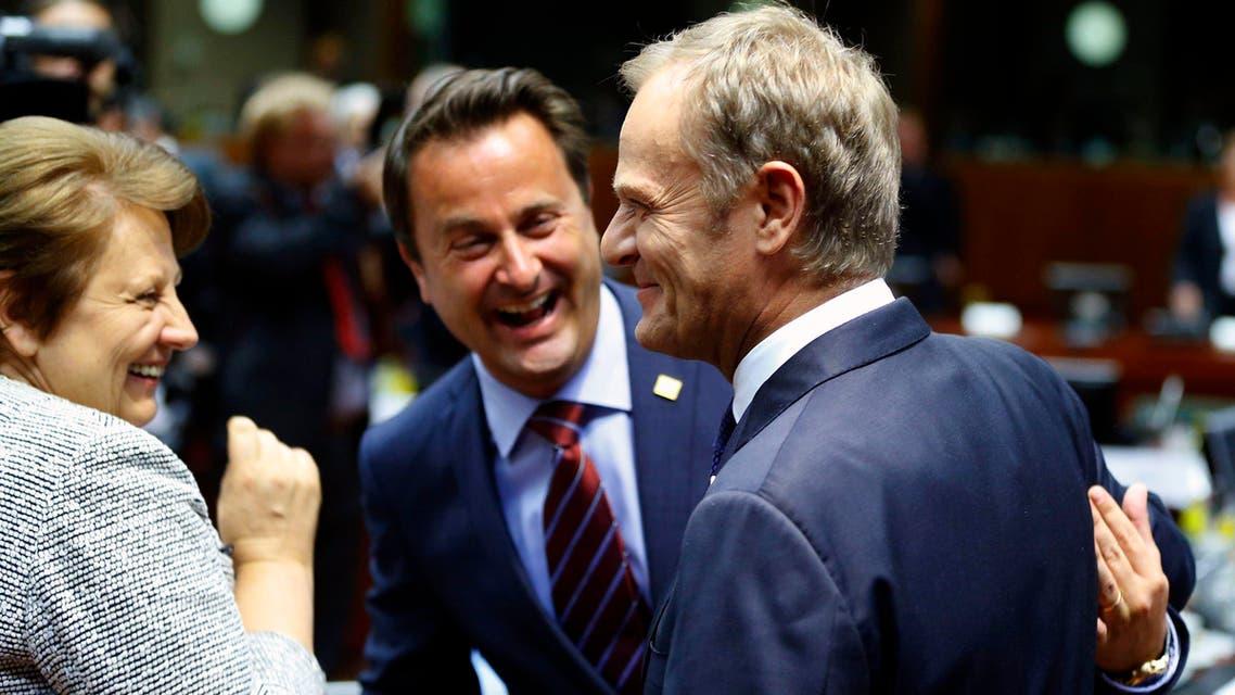 رؤساء الوزراء في بولندا ولاتفيا ولكسمبوغ خلال اجتماعات الأوروبي