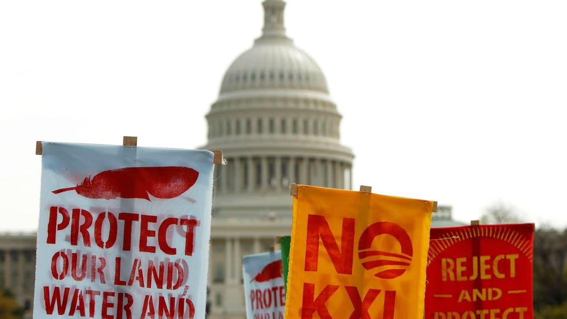 مزارعون أميركيون يحتجون امام الكونغرس على مد أنابيب نفطية في اراض زراعية