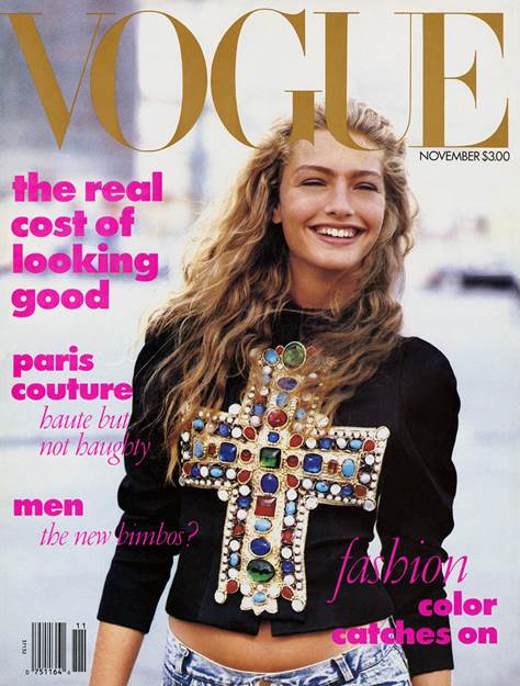Michaela Bercu in 1988 on the first cover curated bu Anna Wintour for American Vogue. (Photo courtesy: Vogue.com)