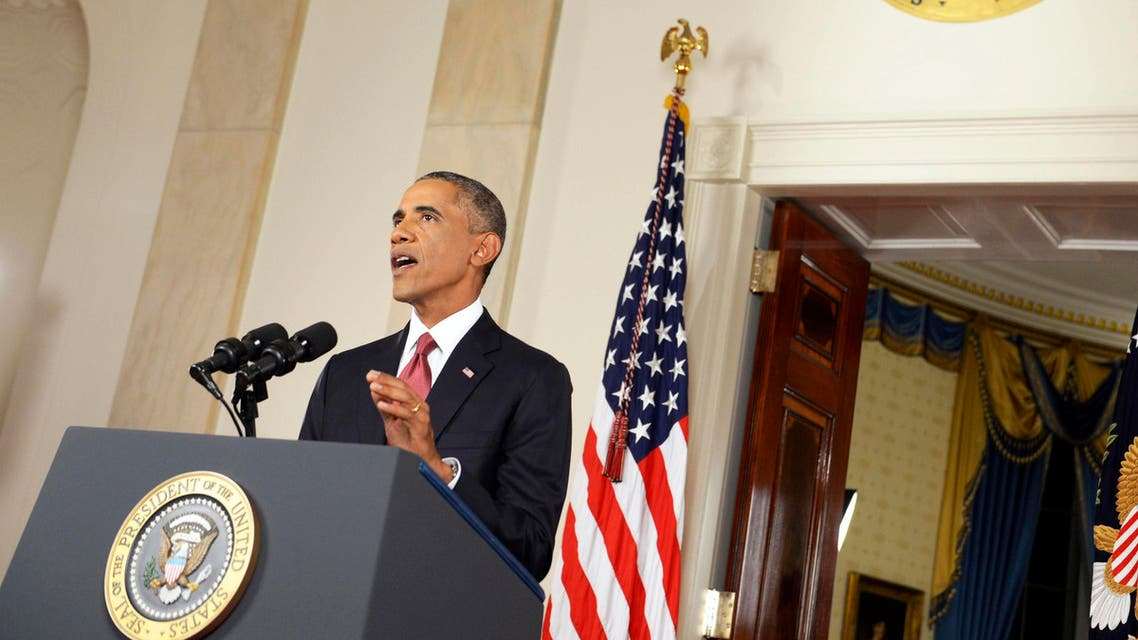U.S. President Barack Obama delivers a live televised address to the nation on his plans for military action against the Islamic State, from the Cross Hall of the White House in Washington September 10, 2014. (Reuters)