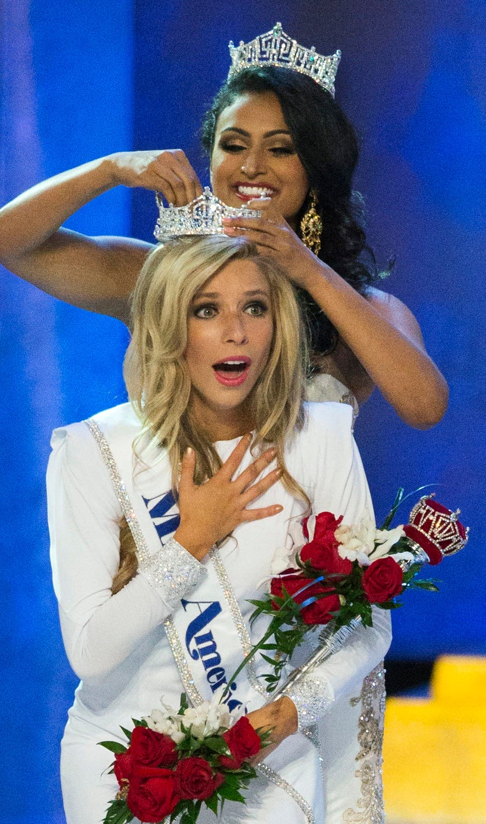 Miss New York Kira Kazantsev reacts as she is crowned as the winner of the 2015 Miss America Competition by Miss America 2014 Nina Davuluri in Atlantic City, New Jersey September 14, 2014.