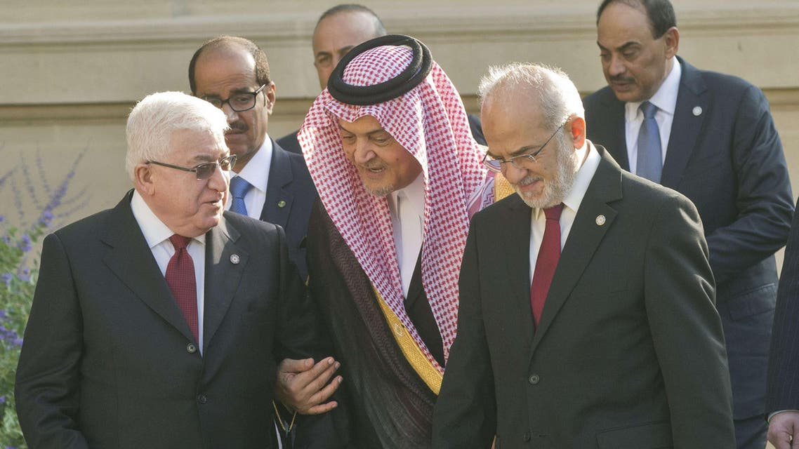 Iraqi President Fuad Masum, Saudi Foreign Minister Prince Saud al-Faisal and and Iraqi Foreign Minister Ibrahim al-Jaafari arrive at the International Conference on Peace and Security in Iraq on Sept. 15, 2014 at the French Foreign Ministry in Paris on Sept. 15, 2014. (AFP)