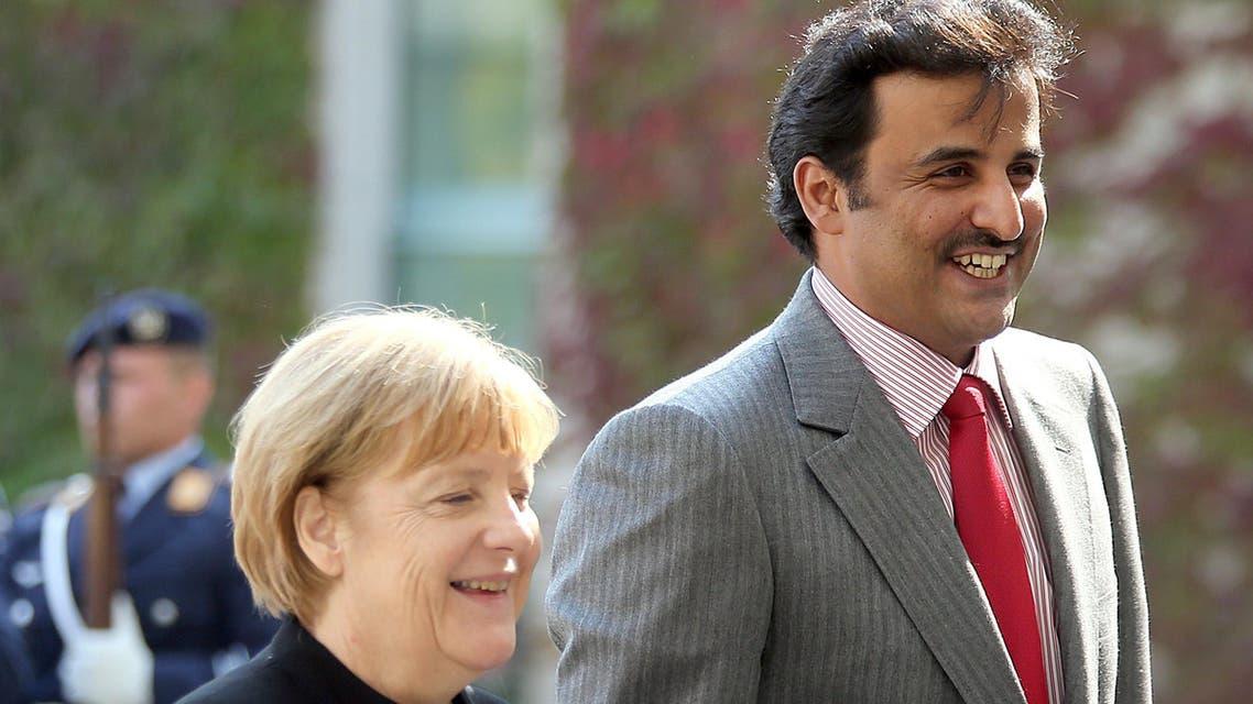 Qatar emir German prime minister Merkel Sheik Tamim bin Hamad Al Thani AFP