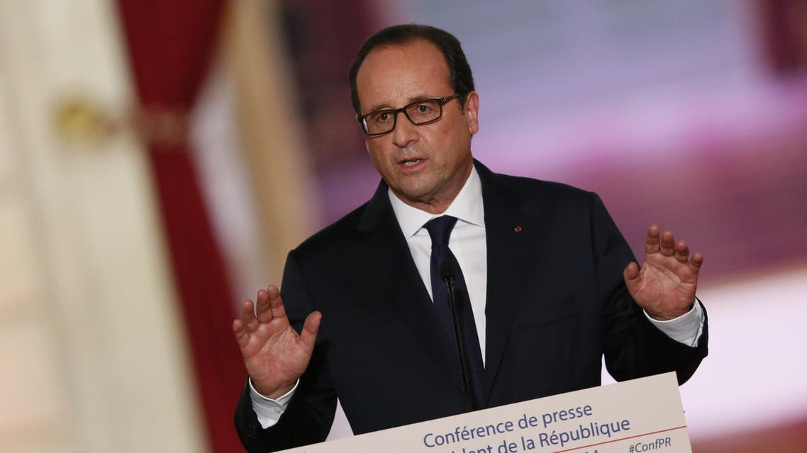 French president Francois Hollande delivers a speech during a press conference, on September 18, 2014 at the Elysee palace in Paris. (AFP)