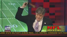 Fox News's Sean Hannity unbuckles belt, whacks it on desk