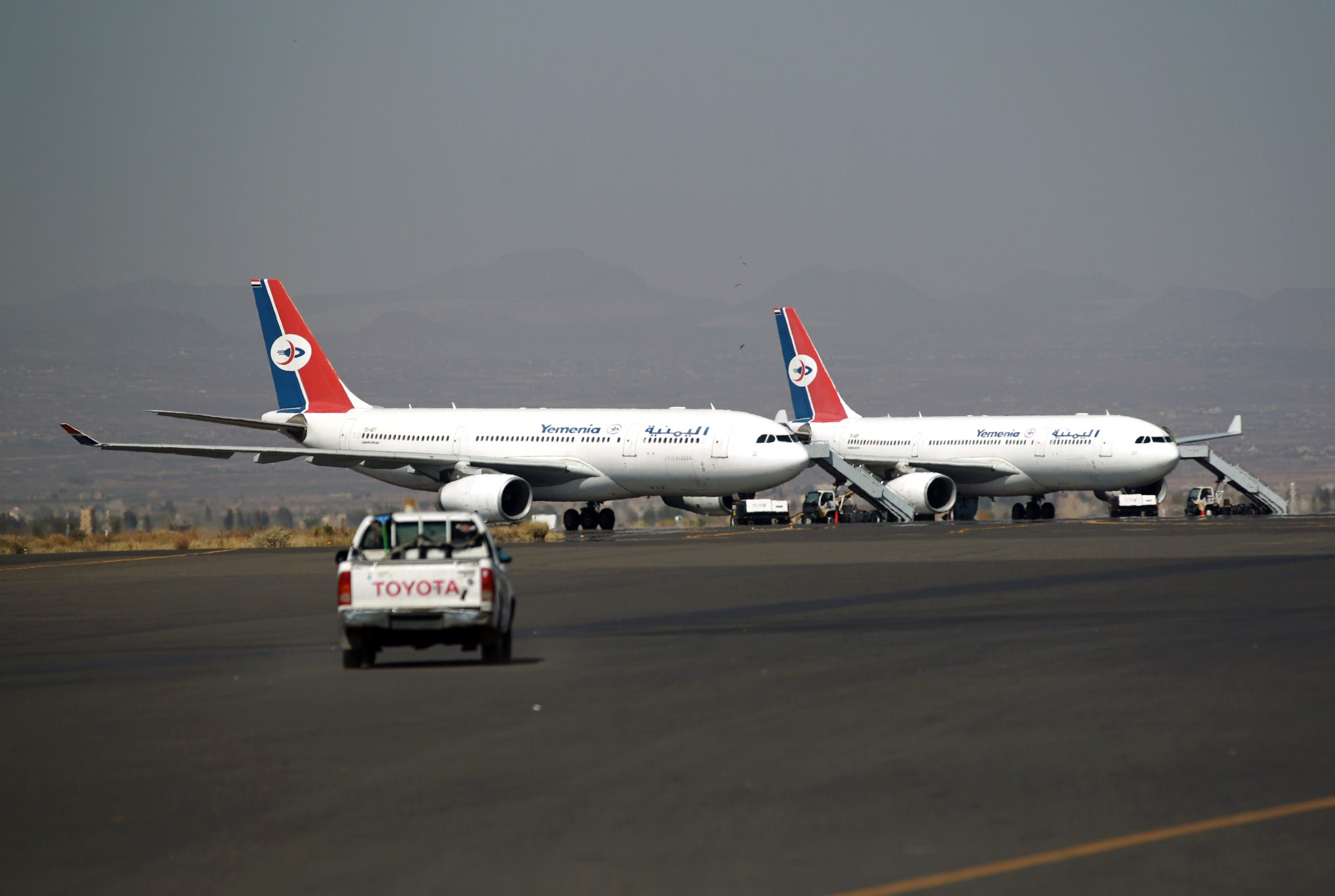 A file picture taken on December 23, 2013 shows airplanes of Yemen's national carrier Yemenia on the tarmac at Sanaa International Airport. (File photo: AFP)