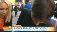 First person to buy an iPhone 6 in Perth drops it during TV interview