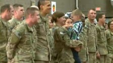 Touching moment toddler ignores U.S. military protocol and hugs mother