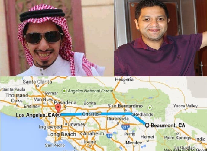 من اليمين أحمد القاضي، ثم شقيقه المختفي، ومنطقة بومونت حيث توقف فيها هاتفه الجوال عن العمل