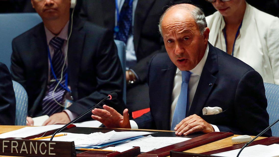 French Foreign Minister Laurent Fabius speaks during a United Nations Security Council meeting on Iraq at U.N. headquarters in New York, September 19, 2014. (Reuters)