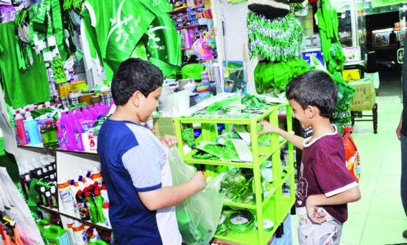 Some stationery shops sold all their wares in green. (SPA)