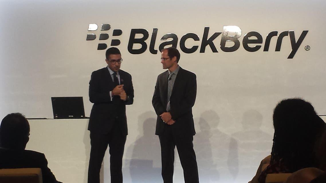Faisal J. Abbas, Editor in Chief of Al Arabiya News (left) and Mike Al-Mefleh, Senior Director, Product Management and Services at BlackBerry, during the launch of Al Arabiya News' new app for BlackBerry 10. (Al Arabiya)