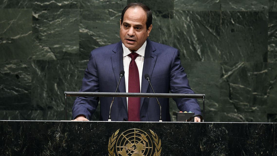 Egypt's President Abdel Fattah Al Sisi speaks during the 69th Session of the UN General Assembly at the United Nations in New York on September 24, 2014. AFP PHOTO/Jewel Samad