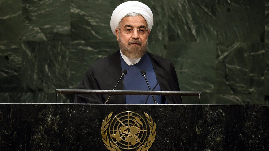 Hassan Rouhani, President of the Islamic Republic of Iran, speaks during the 69th Session of the UN General Assembly September 25, 2014 in New York. (AFP)
