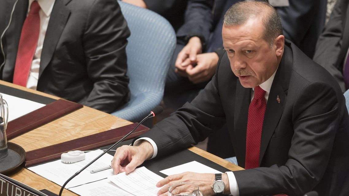 Turkish President Recep Tayyip Erdogan speaks during a UN Security Council summit meeting on foreign terrorist fighters during the United Nations General Assembly at the United Nations in New York, September 24, 2014. (AFP)